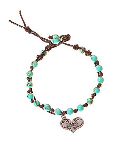 BellaRyann Sister Stainless Steel & Turquoise Howlite Stone Leather Wrap Bracelet