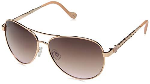 Jessica Simpson Women's J5702 Rgdrs Non-Polarized Iridium Aviator Sunglasses Gold Rose, 60 ()