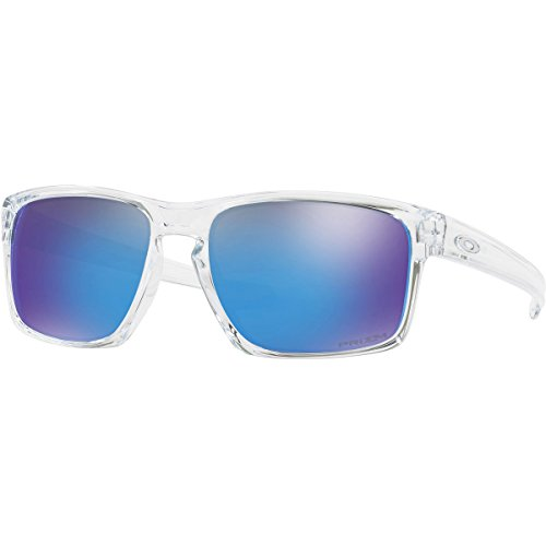 Oakley Men's Sliver Non-Polarized Iridium Rectangular Sunglasses, Polished Clear, 57 - Oakley Clear Sunglasses