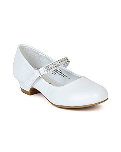 Leatherette Round Toe Rhinestone Strap Kiddie Heel Pump (Toddler/Little Girl/Big Gril) BC79 - White (Size: Little Kid 11