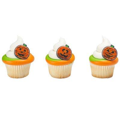 24 ct. Chalk-O-Lantern Pumpkin Halloween Cupcake Rings -
