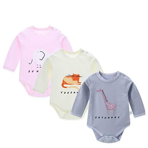 Baby Boys Clothes 3pcs/lot Cotton Long Sleeve Animal Print O-Neck Buckle Baby - Rag Infant Doll Bodysuit