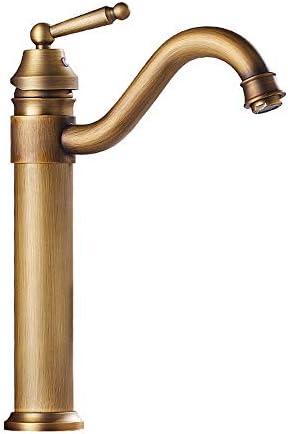 蛇口 温水と冷水の蛇口ヨーロッパスタイルのすべての銅流域のお湯と水の蛇口アンティーク回転蛇口 キッチンとバスルームに適しています (Color : Gold, Size : AS PICTURE)