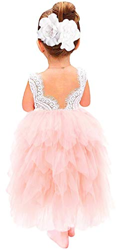 2Bunnies Girl Peony Lace Back A-Line Tiered Tutu Tulle Flower Girl Dress (Pink Sleeveless Maxi, 9-10YRS)]()