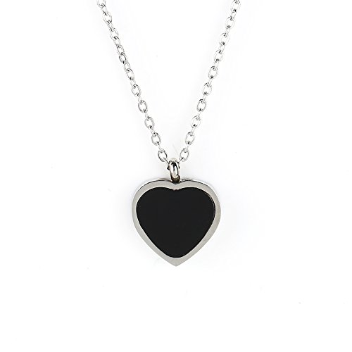 Reversible Silver Tone Designer Necklace with Jet Black Faux Onyx Heart Charm Pendant