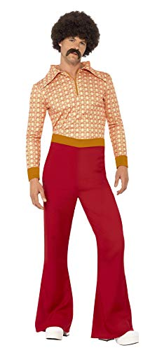 Smiffy's Men's Authentic 70's Guy Costume, Red, Size -