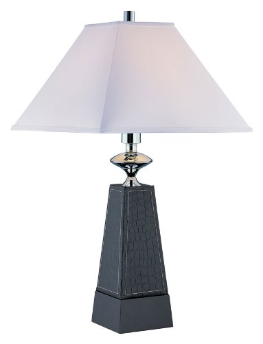 Lite Source LS-21575 Table Lamp, Faux Leather with Off-White Fabric Shade