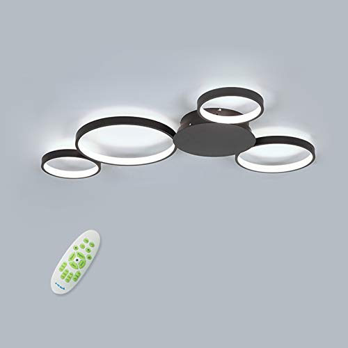 - LightInTheBox Dimmable with Remote Control LED 4 Ring Ceiling Lighting Fixture Flush Mount Circular Round Chandeliers Lamp for Dining Room, Bedroom 4900LM 3000-6000K (Dimmable with Remote Control)