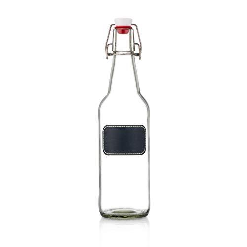 Swing Top Glass Bottles - Flip Top Brewing Bottles For Kombucha, Kefir, Beer - Clear Color - 16oz Size - Set of 6 - Leak Proof Easy Caps, Bonus Gaskets, Chalkboard Labels and Pen - Fast Clean Design by Otis Classic (Image #1)