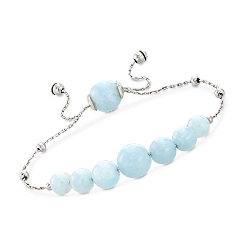 (Ross-Simons 28.45 ct. t.w. Graduated Aquamarine Bead Bolo Bracelet in Sterling Silver)