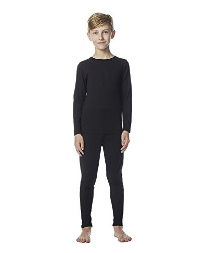 Thermal Underwear Shirt Pant - Kid's Heat Base Layer Set- Black -Small