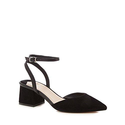 Debenhams Faith Womens Black Suedette 'Carly' Mid Block Heel Pointed Shoes 5ro7bq