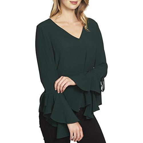1.STATE Women's Long Sleeve V-Neck Cascade Sleeve Blouse Jasper Green Small