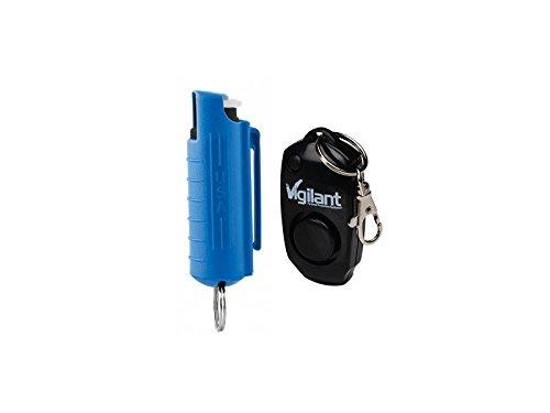 Vigilant Brand Pepper Spray and Vigilant 130dB Personal Alarm MVP Protection Package (MVP Bundle Kit) (Blue Pepper Spray with Black Alarm)