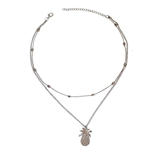 (European and American Pineapple Necklace for Womens, 925 Sterling Silver Bead Chain Pendant Jewelry Best Gift for Her)