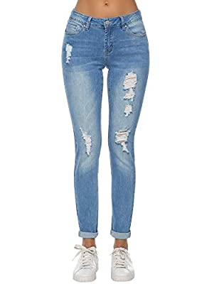 Resfeber Women's Boyfriend Jeans Distressed Slim Fit Ripped Jeans Comfy Stretch Skinny Jeans