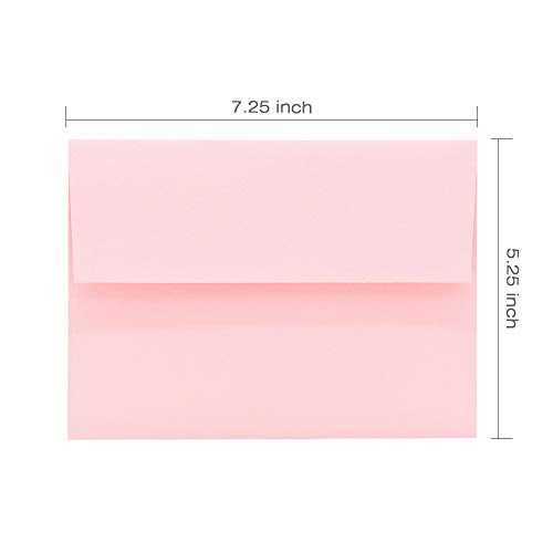 A7 Pink Invitation 5x7 Envelopes - Self Seal, Square Flap,Perfect for Baby Shower, 5x7 Cards, Weddings, Birthday, Invitations, Graduation, 5.25 x 7.25 inches, 100 Pack, (Pink) Photo #4