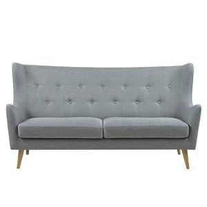 AC Design Furniture Canapé Karin – L 201 x P 89 x H 105 cm – Tissu Gris