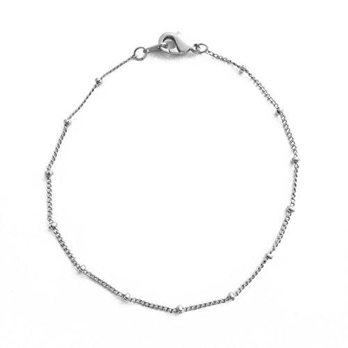 (HONEYCAT Satellite Bead Ball Chain Bracelet in Silver (Rhodium Plated) | Minimalist, Delicate Jewelry (Silver))