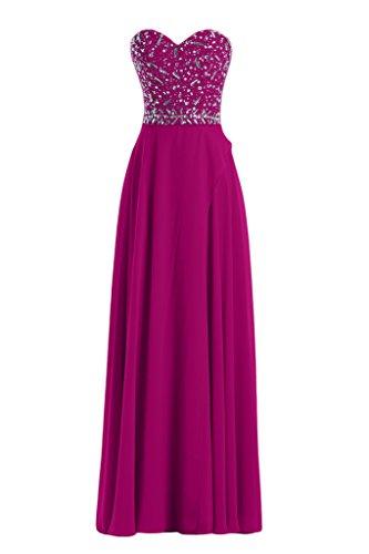 La novia de mujer en forma de corazón de la Toscana de imitación de la gasa vestido de bola vestidos de noche vestidos de fiesta largo fucsia