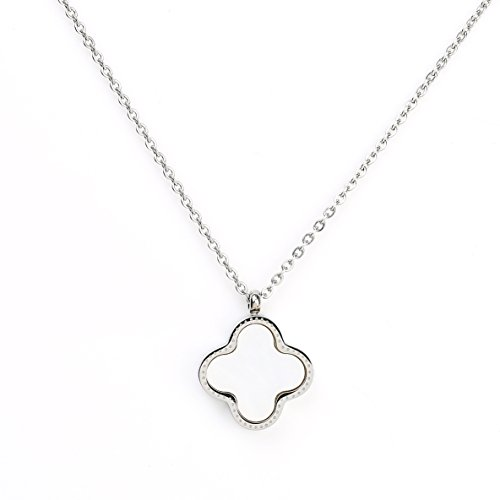 REVERSIBLE Silver (White Gold) Tone Designer Necklace with Contemporary Clover, Faux Onyx and Mother of Pearl Inlay (Reversible) (Pearl Clover Necklace)