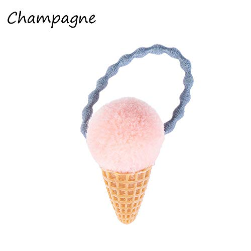 Girls Ice Cream Fluffy Pompom Elastic Hair Ties Seamless Ponytail Holder Rope - (Color - champagne)