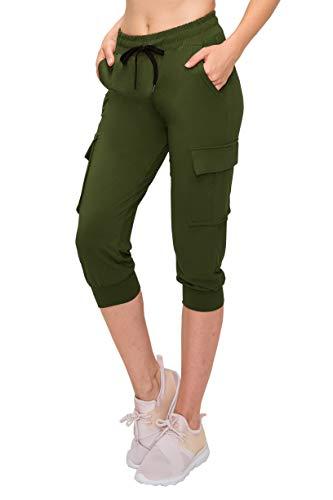 ALWAYS Women Capri Jogger Pants - Lightweight Skinny Solid Soft Stretch Drawstrings Pockets Cargo Sweatpants Olive - Pocket Olive Cargo Pants