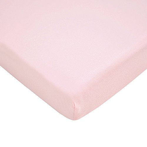 (TL Care 100% Natural Cotton Value Jersey Knit Fitted Portable/Mini-Crib Sheet, Pink, Soft Breathable, for Girls)