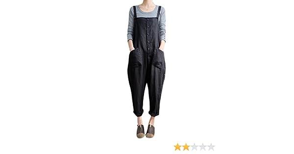 HTOOHTOOH Women Casual Baggy Overalls Wide Leg Pants Sleeveless Rompers Jumpsuit