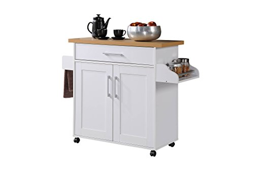 - Hodedah Kitchen Island with Spice Rack, Towel Rack & Drawer, White with Beech Top