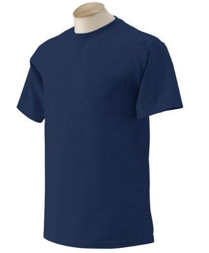 Gildan Adult Short Sleeve T-Shirt w/pocket in Uniform Navy - Small