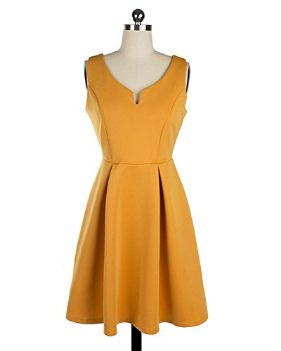LaoZan Mini vestido Elegante Estilo Hepburn Vestido Plisado de Mujer Vintage Vestido de Novia retro Cuello en V Sin mangas Amarillo