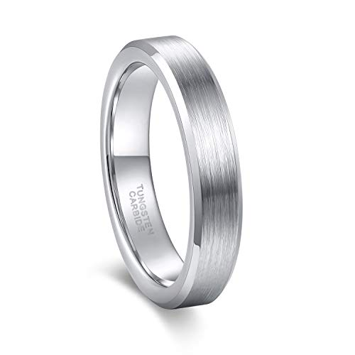 Men Rings Tungsten Carbide Wedding Bands Silver Matte Polished 4mm 6mm -