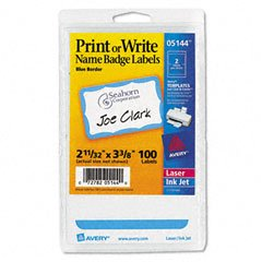Avery Blue Border Print or Write Name Badge Labels, 2.34 x 3.37 Inches