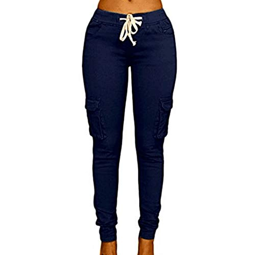 Women's Solid Color Stretch Cargo Joggers Casual Pockets Drawstring Skinny Pants Navy Blue (Women Navy Striped Pj)