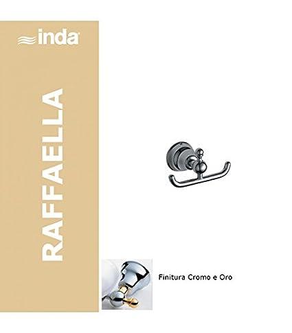 Inda Raffaella perchero doble, 13 x 9 x 7, cromado, dorado ...