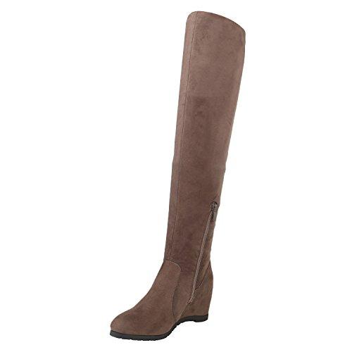 Stiefelparadies Damen Stiefel Strick Schlupfstiefel Wedges Plateau Schuhe Flandell Khaki Zipper