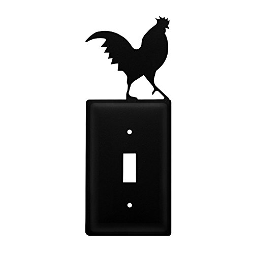 Iron Rooster Switch Cover - Black Metal (Rooster Switchplate)