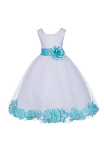 White Tulle Floral Rose Petals Formal Flower Girl Dresses Bridal Gown 302S 6