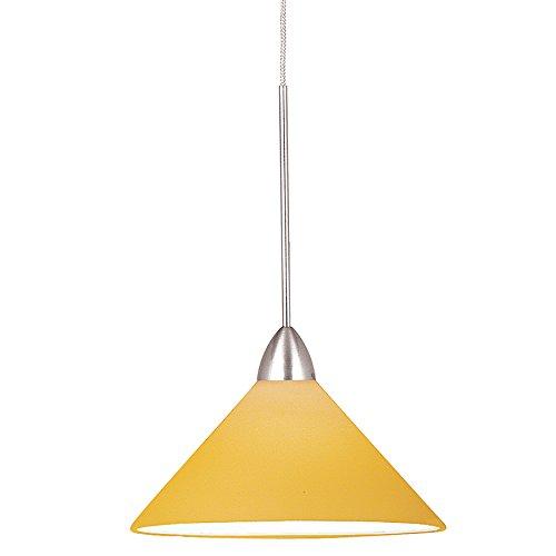 WAC Lighting MP-512-AM/CH Jill 1-Light 12V MonoPoint Pendant with Amber Art Glass Shade, Chrome Finish (Amber Monopoint Pendant Glass)