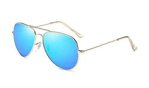 de style de Lunettes Lunettes polarisées soleil de classique Lunettes métal rétro en Bleue Huateng Or Glace pilote soleil soleil qpY87