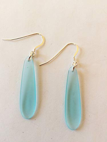 HANDMADE STERLING SILVER SEA GLASS DANGLE EARRINGS