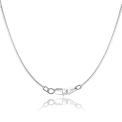 Jewlpire 925 Sterling Silver Chain 0.8mm Box Chain Lobster Claw Clasp - Italian Necklace Chain - Super Thin & Strong - Friendly Price & Quality 16/18/20 Inch