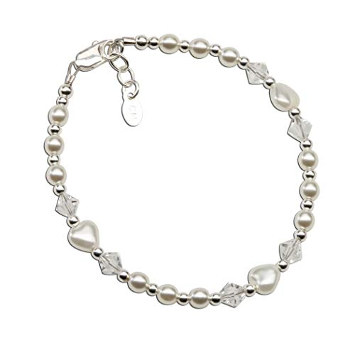 Sterling Silver LDS Baptism Bracelet for girls with Simulated Pearl Hearts and Crystals (6-12 yrs)