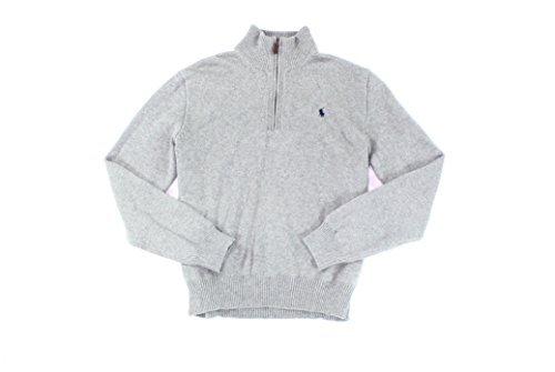 Polo Ralph Lauren Mens Cotton Knit 1/2 Zip Sweater Gray (Ralph Lauren Mens Pullover)