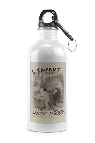 L'Enfant Prodigue Vintage Poster (artist: Willette) France c. 1890 (20oz Stainless Steel Water Bottle w/ Carabiner)