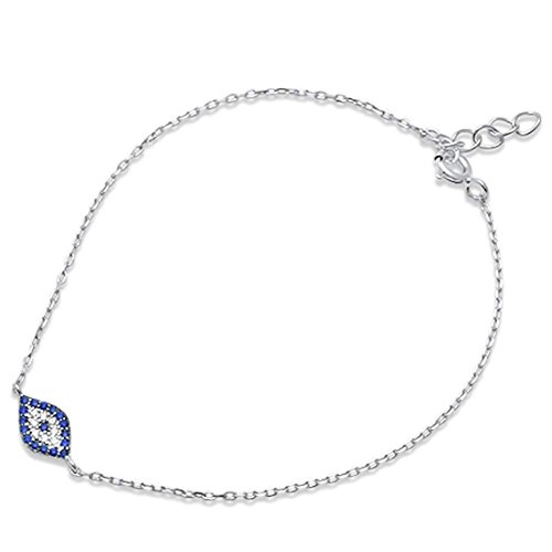 Baguette Blue Sapphire Bracelet - Evil Eye Bracelet Round Simulated Blue Sapphire 925 Sterling Silver