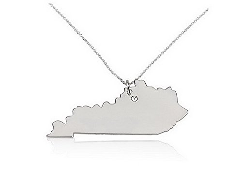 State Necklace Kentucky State Charm Necklace Sterling Silver State Necklace with a Heart (20 Inches)