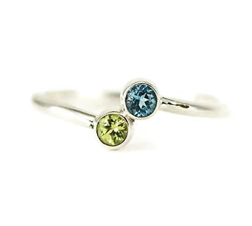 Amazon.com: Two Stone Bypass Ring - Dual Birthstone Ring - Sterling ...