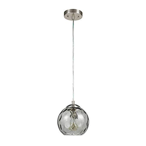 Contemporary Curved Glass - Catalina Lighting 22158-001 Contemporary Small Hammered Glass Mini Pendant Ceiling Light, 69